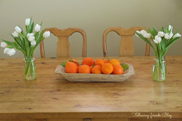 Oranges and white flowers