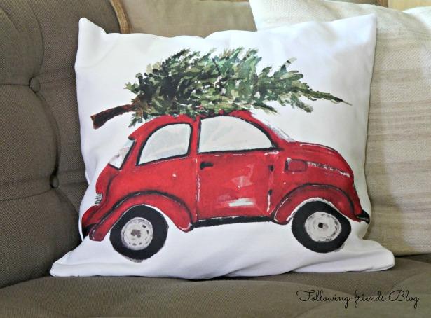 Red Car Pillow