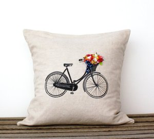 Bicycle Pillow on Etsy